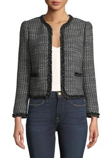 Rebecca Taylor Short Tweed Jacket w/ Ruffle Trim