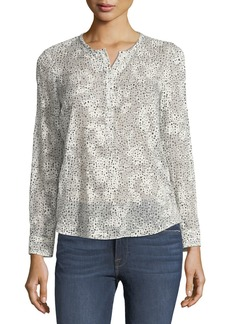 Rebecca Taylor Silk-Blend Snow-Dot Blouse