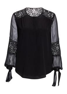 Rebecca Taylor Silk Lace-Panel Top