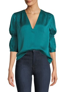 Rebecca Taylor Silk V-Neck Cinched-Sleeve Top