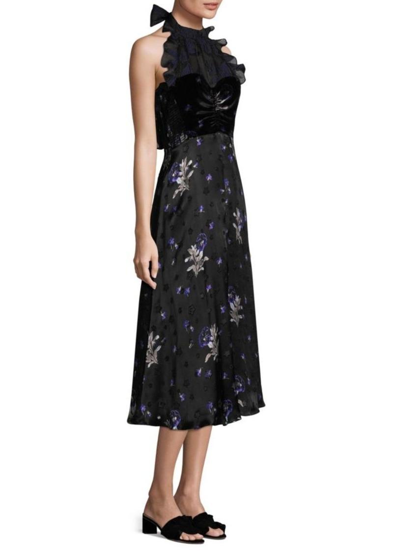 Rebecca Taylor Silk Velvet Halter Dress