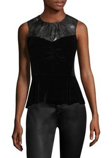 Rebecca Taylor Silk Velvet Peplum Top