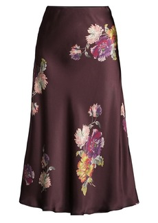 Rebecca Taylor Simone Fleur Bias Silk Skirt