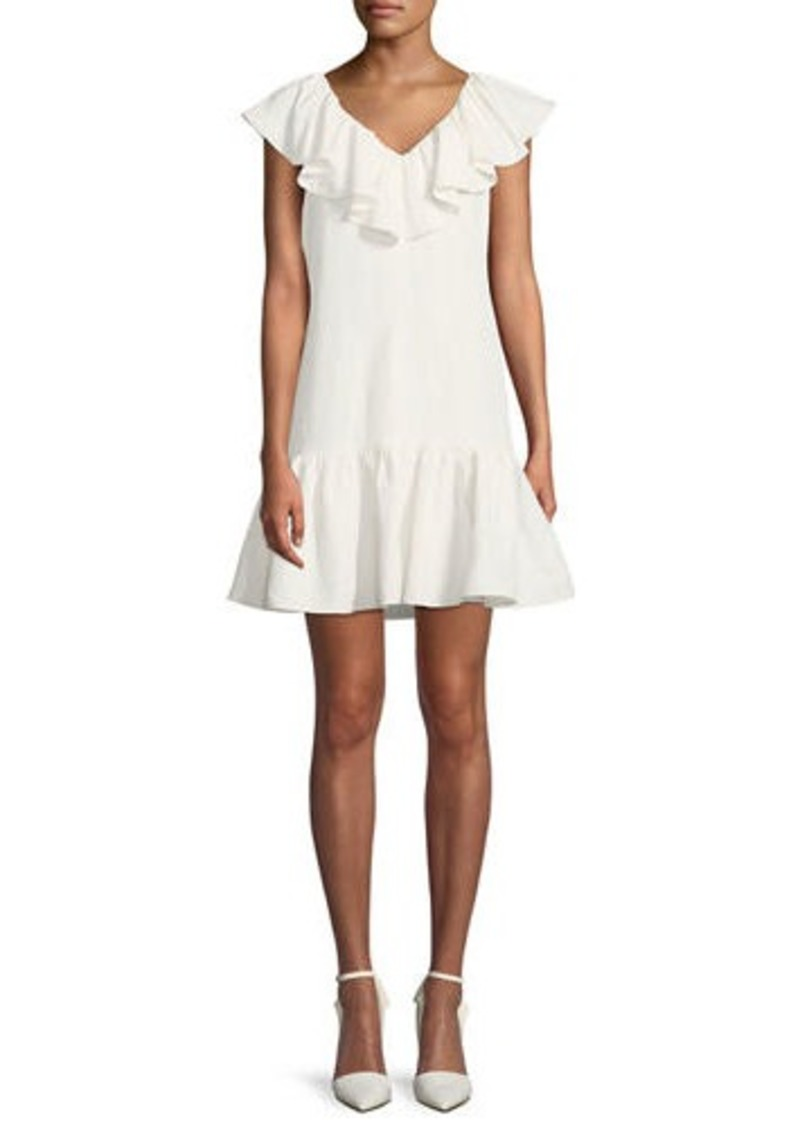 Rebecca Taylor Sleeveless A-Line Ruffle Mini Dress