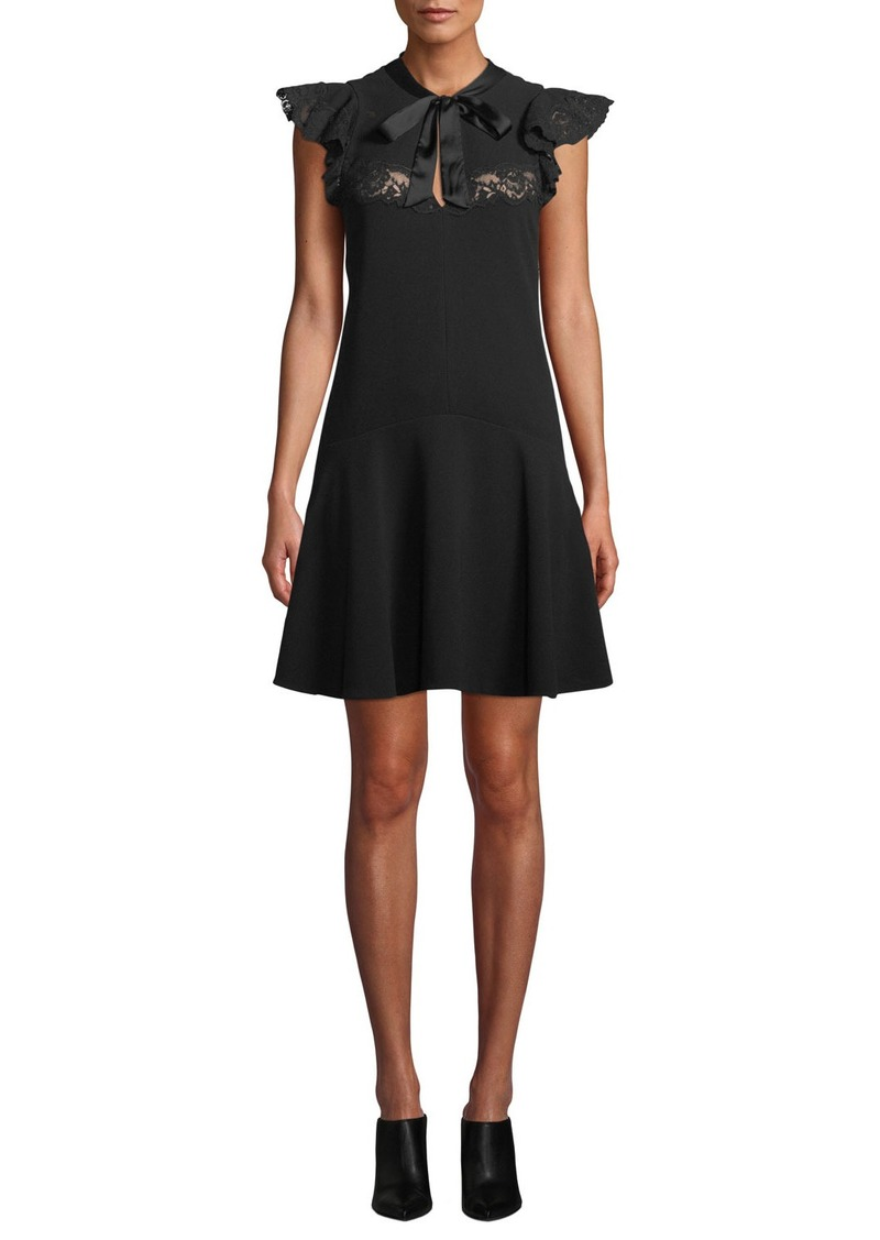 Rebecca Taylor Sleeveless Crepe Tie-Neck Lace Short Dress