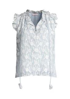 Rebecca Taylor Sleeveless Embroidery Ruffle Top
