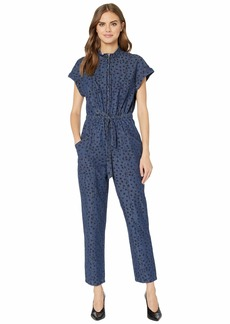 Rebecca Taylor Sleeveless Faune Denim Jumpsuit