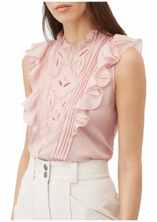 Rebecca Taylor Sleeveless Hana Embroidered Top