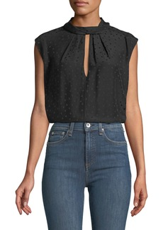 Rebecca Taylor Sleeveless Jacquard Silk Top