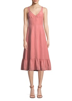 Rebecca Taylor Sleeveless Lace-Up Cotton/Linen Slip Dress