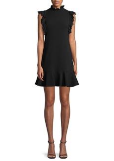 Rebecca Taylor Sleeveless Moss Crepe A-Line Short Dress w/ Lace Trim