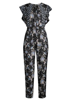 Rebecca Taylor Sleeveless Paisley Silk-Blend Jumpsuit