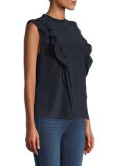 Rebecca Taylor Sleeveless Pintuck Silk Blouse