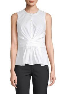 Rebecca Taylor Sleeveless Poplin Cotton-Stretch Wrap Top