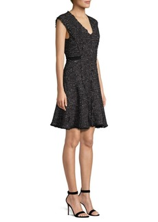 Rebecca Taylor Sparkle Tweed Fit-And-Flare Dress