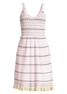 Rebecca Taylor Sleeveless Stripe Pointelle Dress