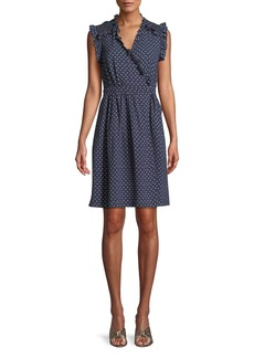Rebecca Taylor Sleeveless Surplice Ruffle Ikat-Dot Dress