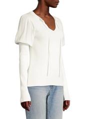 Rebecca Taylor Ruffle Rib-Knit Puff-Sleeve Pullover