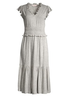 Rebecca Taylor Smocked Jersey Midi Dress