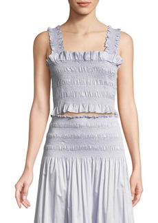 Rebecca Taylor Smocked Sleeveless Ruffle Crop Top
