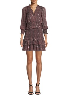 Rebecca Taylor Smocked Snake-Print Ruffle Short Dress