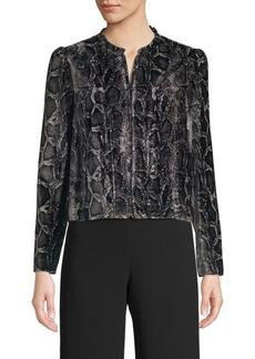 Rebecca Taylor Snake-Print Velvet Jacket