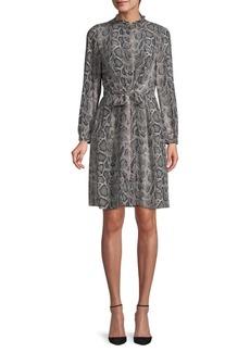 Rebecca Taylor Snakeskin-Print Silk Button-Front Dress