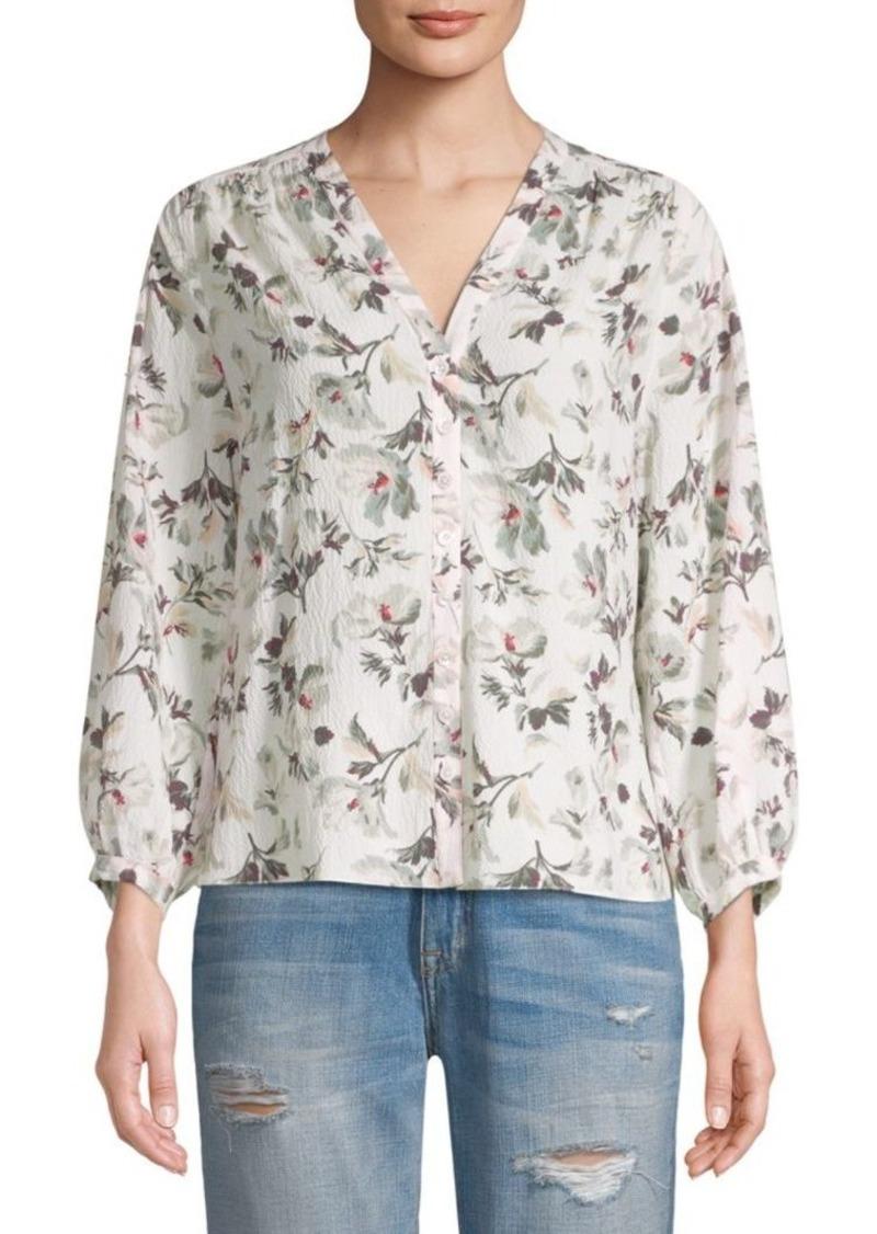 Rebecca Taylor Sofia Long-Sleeve Silk Top