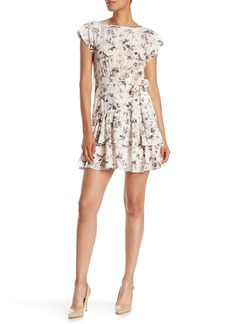 Rebecca Taylor Sofia Short Sleeve Floral Print Silk Dress