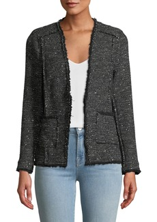 Rebecca Taylor Sparkle Stretch Tweed Jacket w/ Frayed Edges