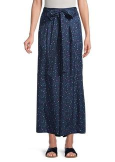 Rebecca Taylor Speckle Dot Silk Wide-Leg Pants