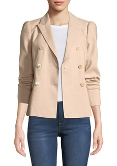 Rebecca Taylor Stretch-Linen Double-Breasted Jacket