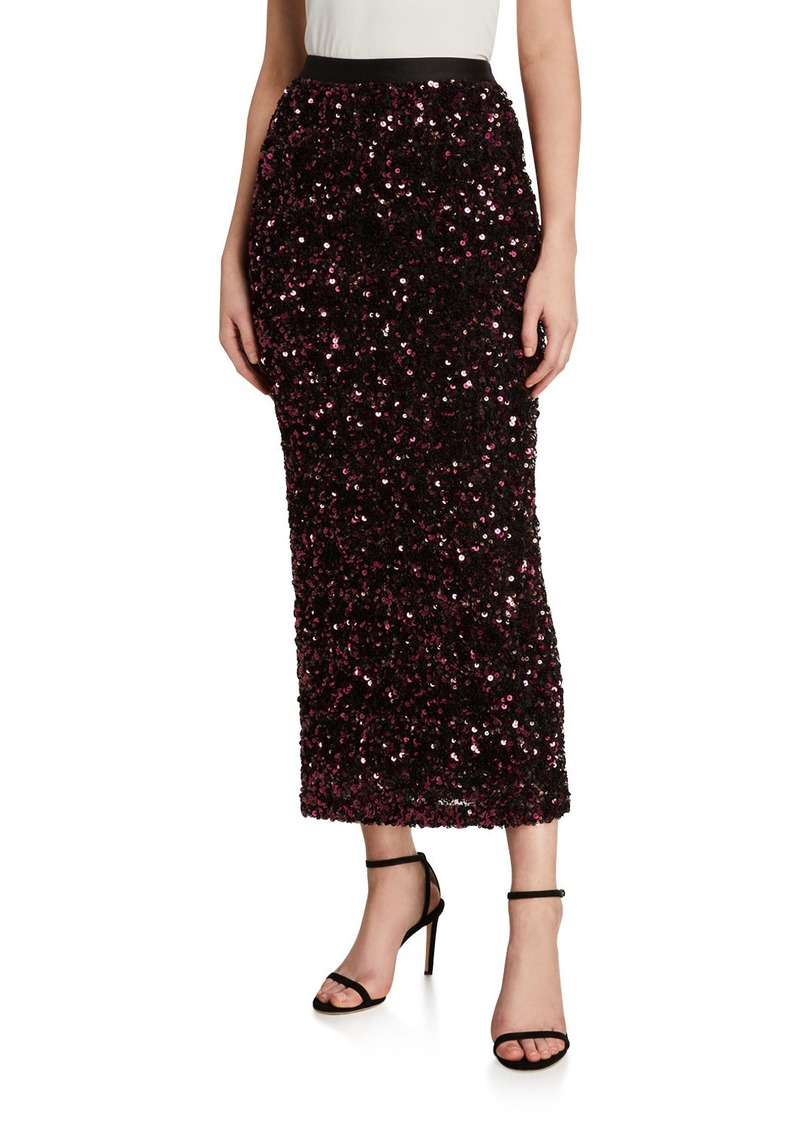 Rebecca Taylor Stretch Sequined Midi Skirt