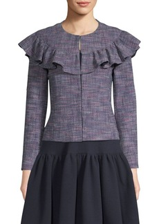 Rebecca Taylor Stretch Tweed Ruffle Jacket