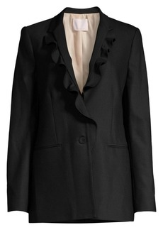 Rebecca Taylor Stretch-Wool Ruffle Suit Jacket