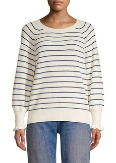 Rebecca Taylor Stripe Wool-Blend Smocked Cuff Sweater