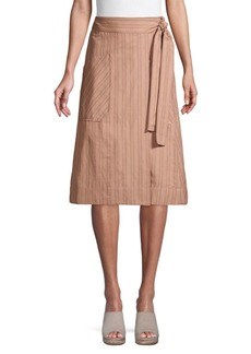 Rebecca Taylor Striped A-Line Apron Skirt