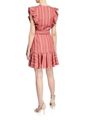 Rebecca Taylor Striped Sleeveless Ruffle Wrap Dress