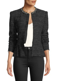 Rebecca Taylor Structured Embroidered Tweed Jacket