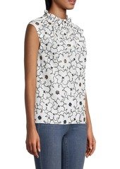Rebecca Taylor Tai Embroidered Sleeveless Top