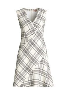 Rebecca Taylor Tailored Windowpane Plaid Tweed Dress