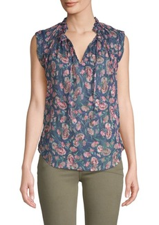 Rebecca Taylor Tea Rose Silk-Blend Top