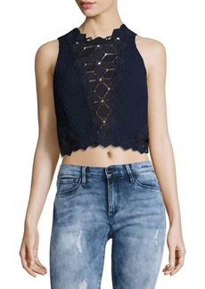 Rebecca Taylor Textured Cutwork Sleeveless Top
