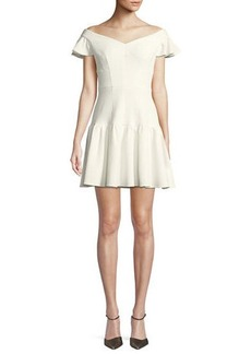 Rebecca Taylor Textured Off-the-Shoulder Mini Dress