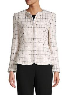 Rebecca Taylor Textured Plaid Cotton-Blend Jacket