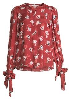 Rebecca Taylor Tie-Cuff Paintbrush Stretch-Silk Top