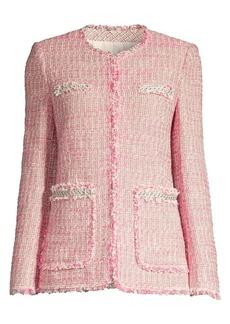Rebecca Taylor Tonal Fringe Tweed Jacket