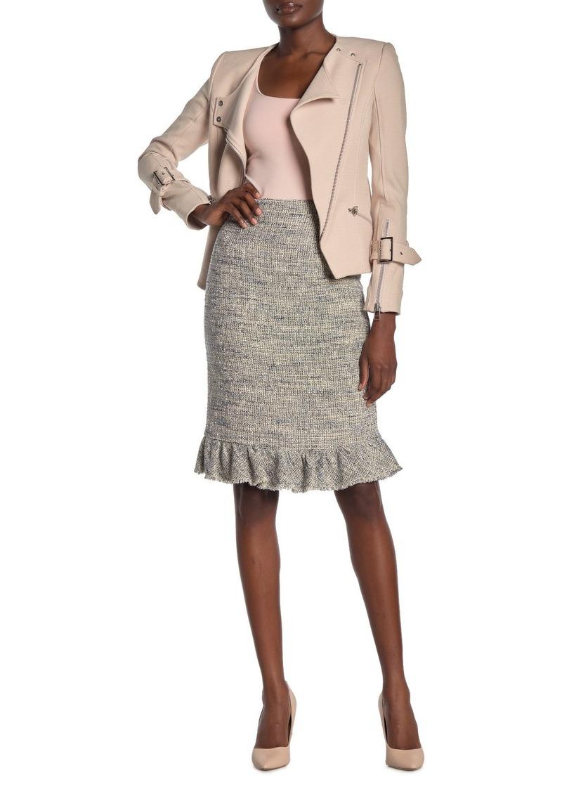 Rebecca Taylor Tweed Ruffled Pencil Skirt