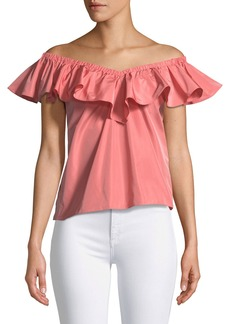 Rebecca Taylor V-Neck Off-The-Shoulder Taffeta Top