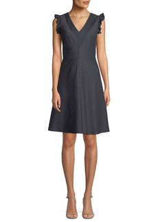 Rebecca Taylor V-Neck Sleeveless Striped Linen-Blend A-Line Dress